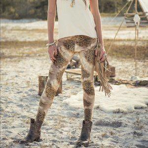 Spell Lost in Savanna Velvet Leopard Leggings AUS6